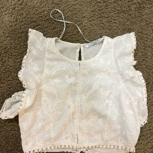 Zara vintage bead lace embroidered crop top